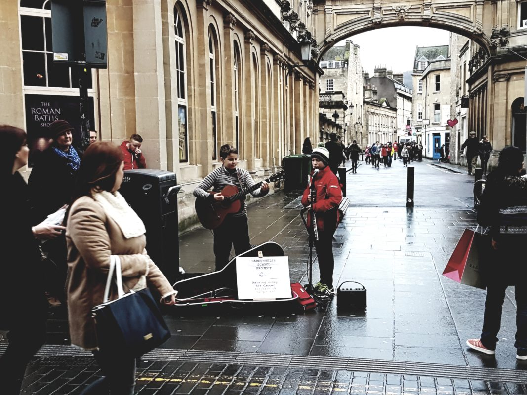 My Children Busking in Bath for Cancer Research